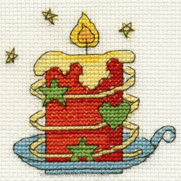 Christmas Red Candle Mini Cross Stitch Kit